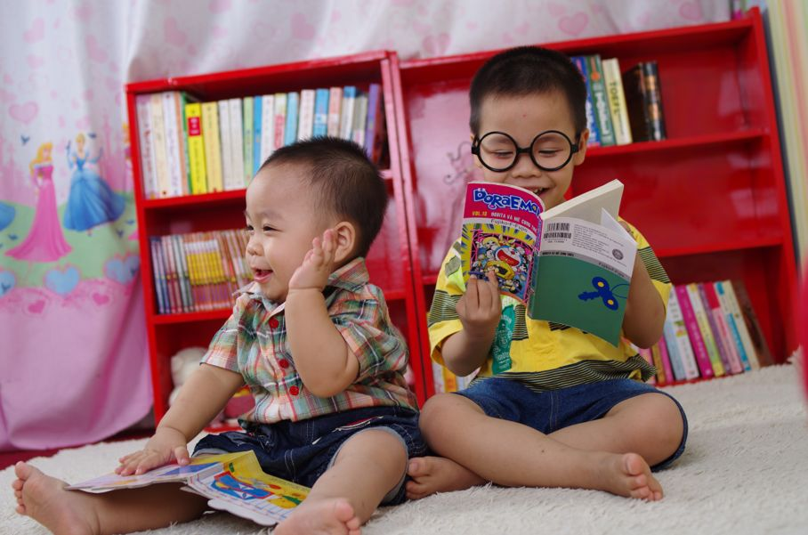 cute little boys reading