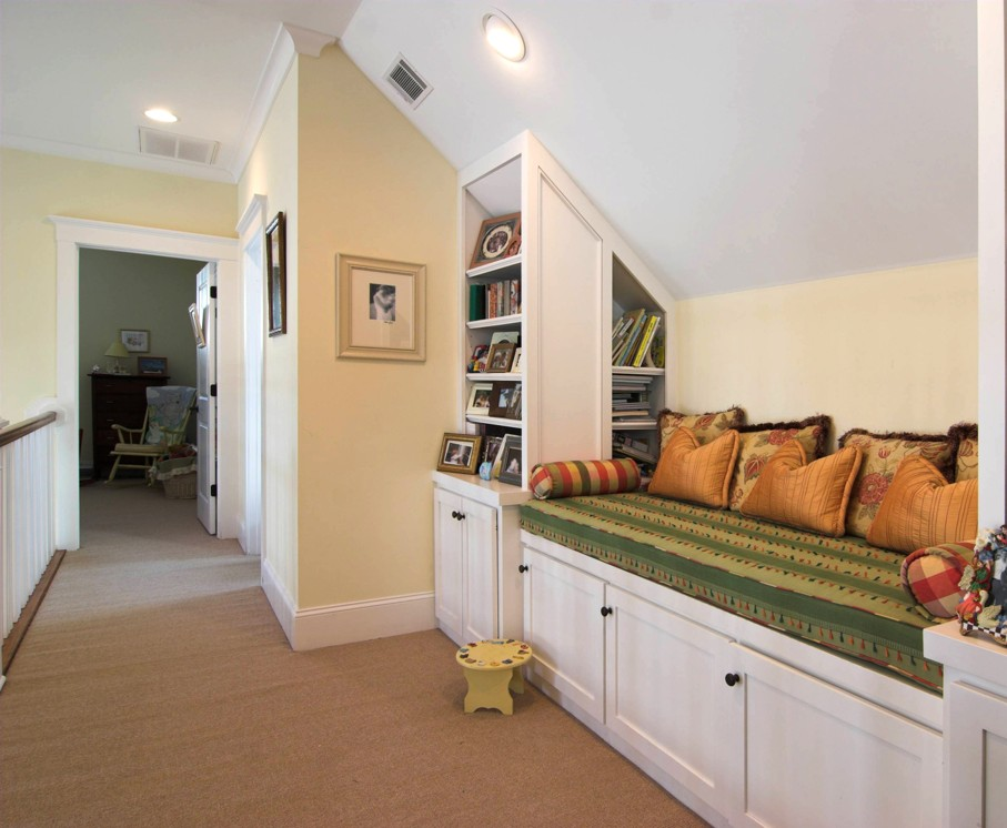 Quaint nook with built-in bench area for reading