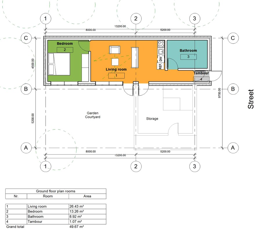 Floor plan of the living house