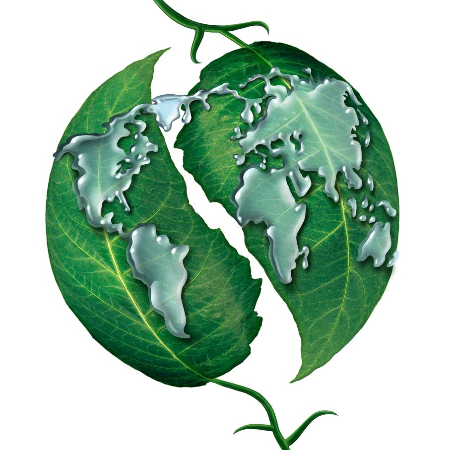 World leaf water drop concept
