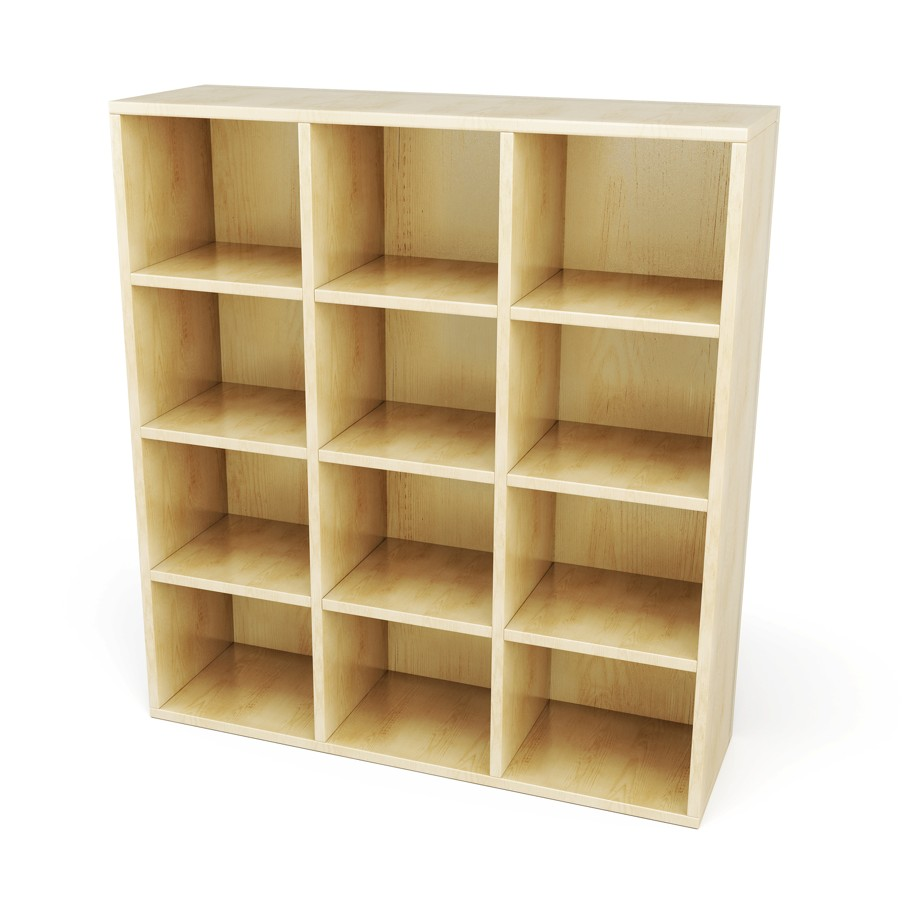 Wooden shelves with sections