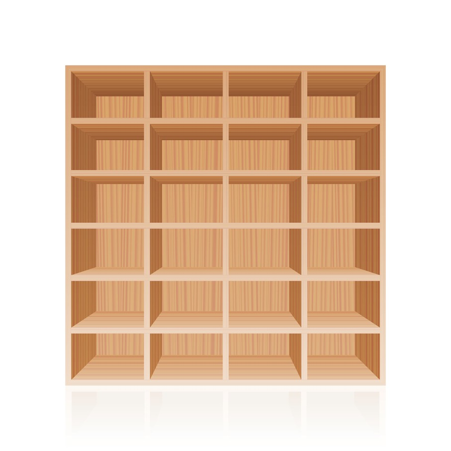 Bookshelf - wooden texture optic - with twenty four empty cubbyholes