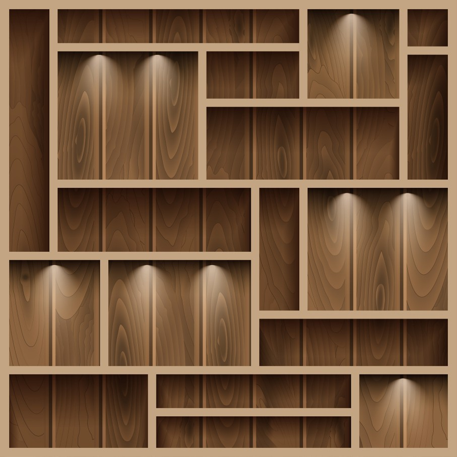 Empty shelves on the wooden wall illuminated with reflector light