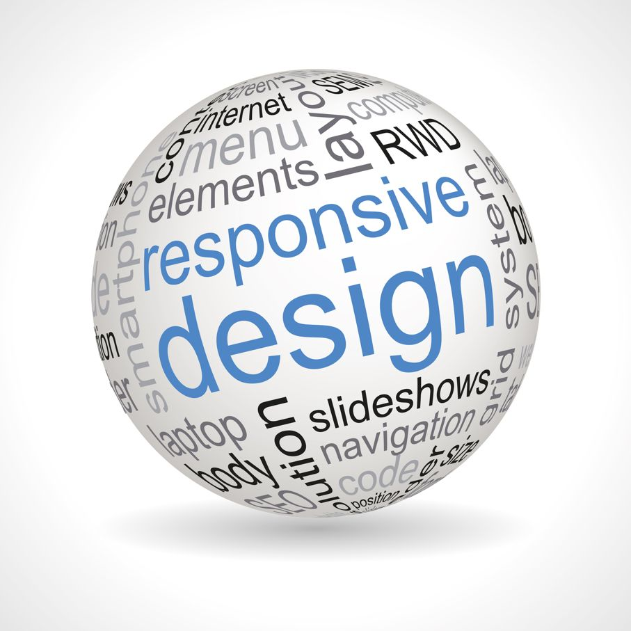 Responsive design theme sphere with keywords