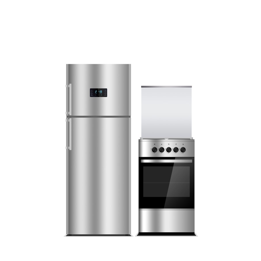 Stainless steel color refrigerator and stove